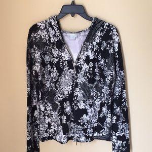 Alberto Makali Floral Beaded Zip Up Hooded Sweater